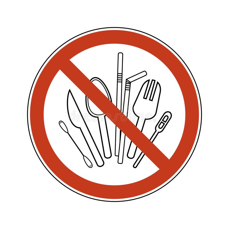 Cuchara de la muestra de la prohibici?n, bifurcaci?n, cuchillo, agitador, paja, brote del algod?n Cubiertos pl?sticos no reutiliz libre illustration