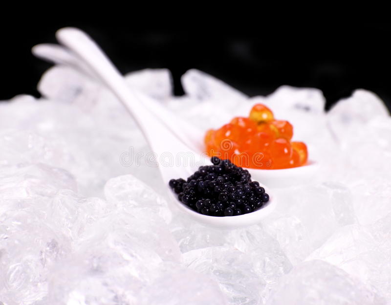 Cuchara de la porcelana por completo del rojo y del caviar negro del esturión foto de archivo libre de regalías