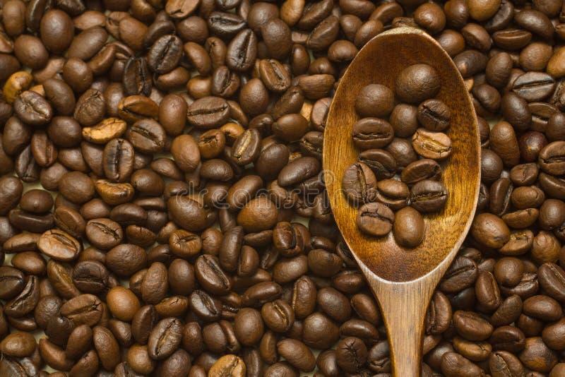 Cuchara de madera de la laca en fondo de los granos de café imagen de archivo libre de regalías