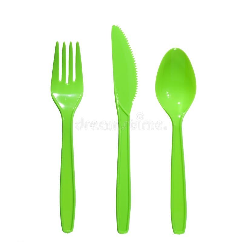 Cuchara plástica del cuchillo de la fork imagen de archivo libre de regalías