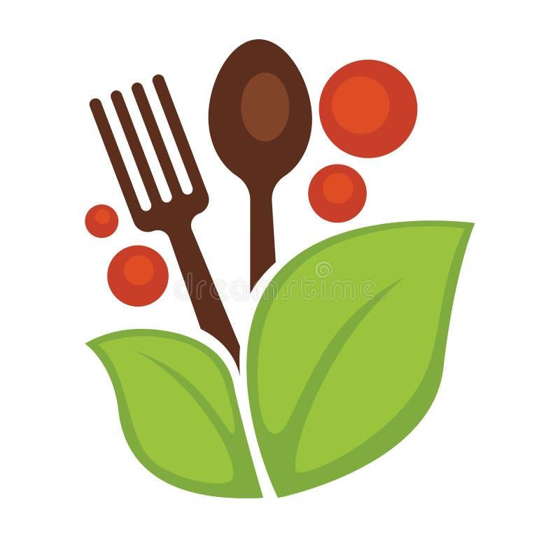 Cuchara y bifurcación vegetales del vector de la hoja de la comida del vegano libre illustration
