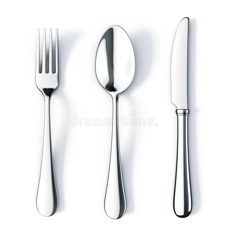Cuchara y cuchillo de la fork stock de ilustración