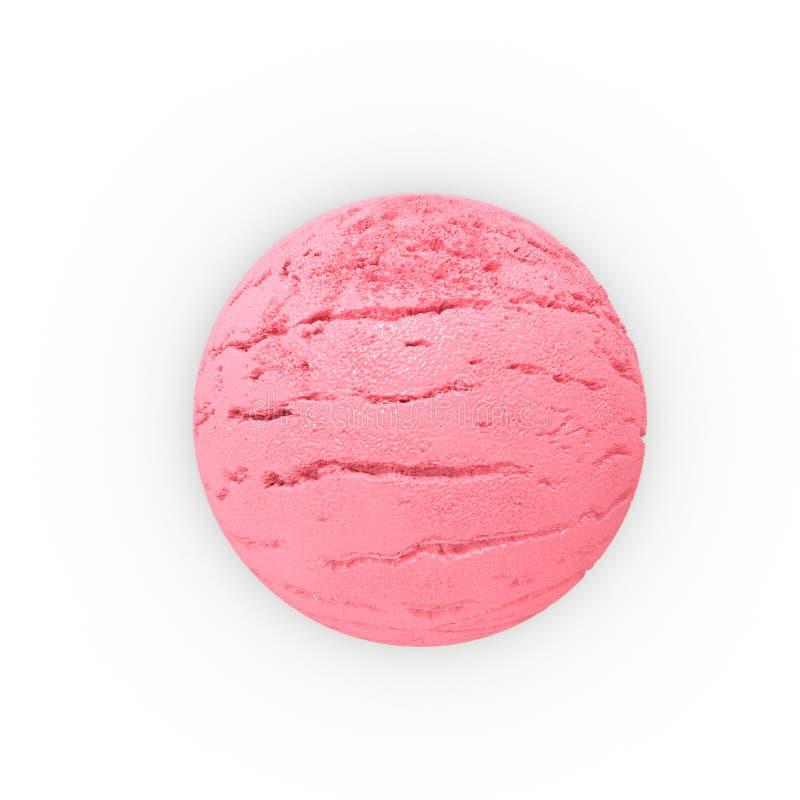Cucharada de la bola de hielo de la fresa Primer extremo representación 3d stock de ilustración