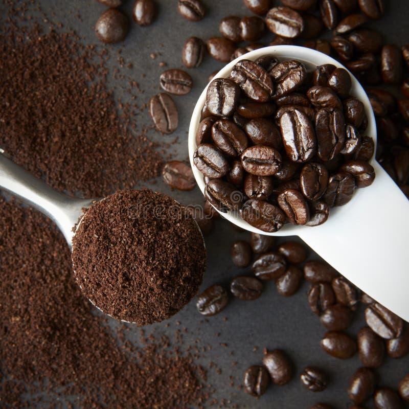 Cucharada de los granos de café asados, y una cuchara del café molido imágenes de archivo libres de regalías
