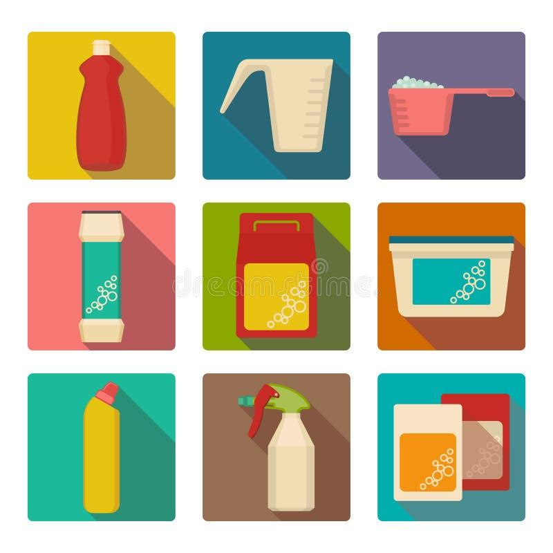Cucharada detergente en los envases de plástico aislados ilustración del vector