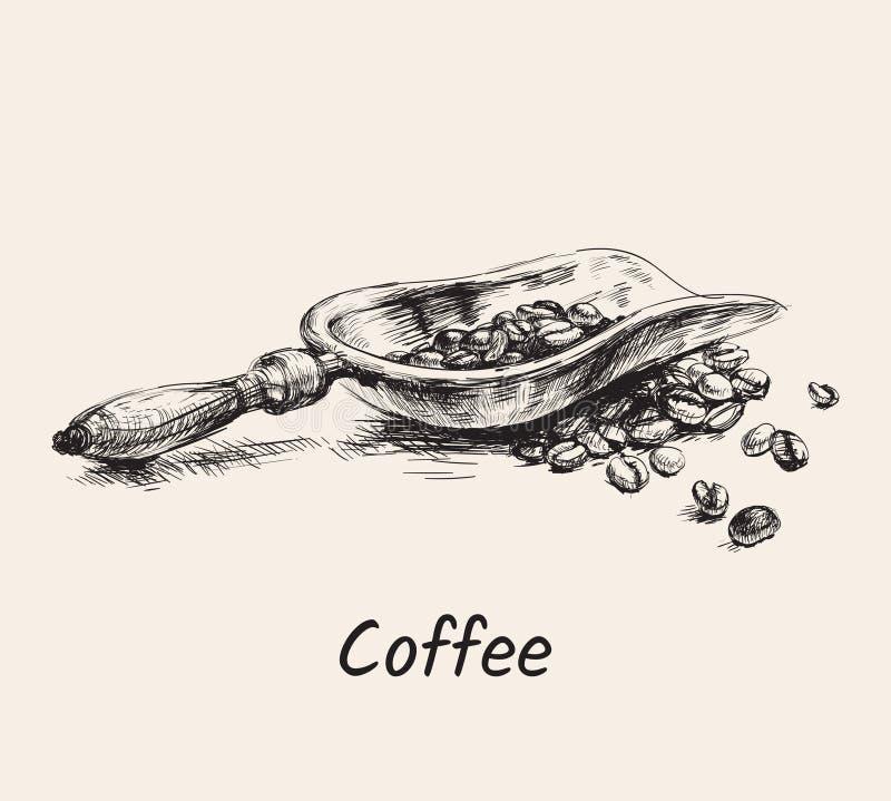 Cucharada exhausta del café del bosquejo de la mano con la pila de ejemplo del vector de las habas ilustración del vector