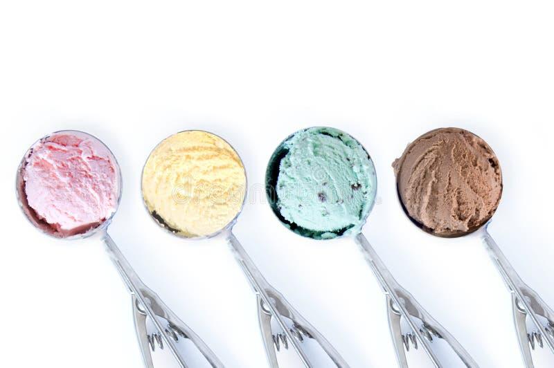 Cucharadas del helado imagenes de archivo