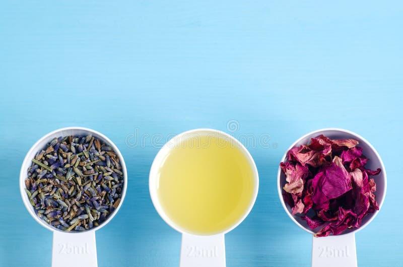 Cucharadas plásticas con aceite de oliva y diversas hierbas curativas - flores color de rosa secas de la lavanda y del perro Arom fotografía de archivo