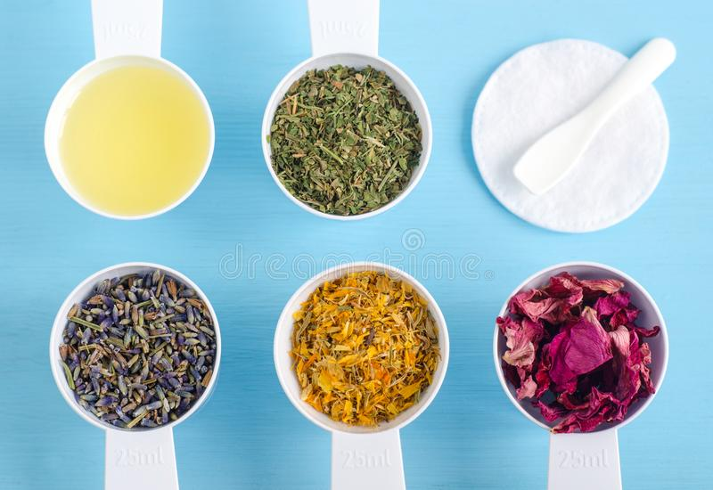 Cucharadas plásticas con el aceite de oliva y las diversas hierbas curativas - flores color de rosa secas del perejil, de la mara fotos de archivo