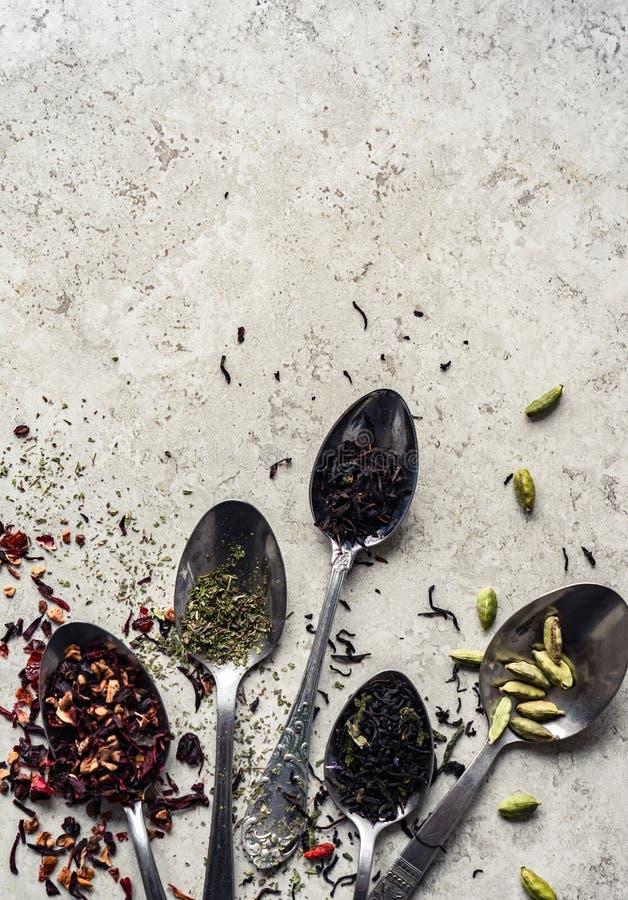 Cucharas con las hojas de té, cardamomo color de rosa seco de las hierbas de la flor en la tabla imagen de archivo