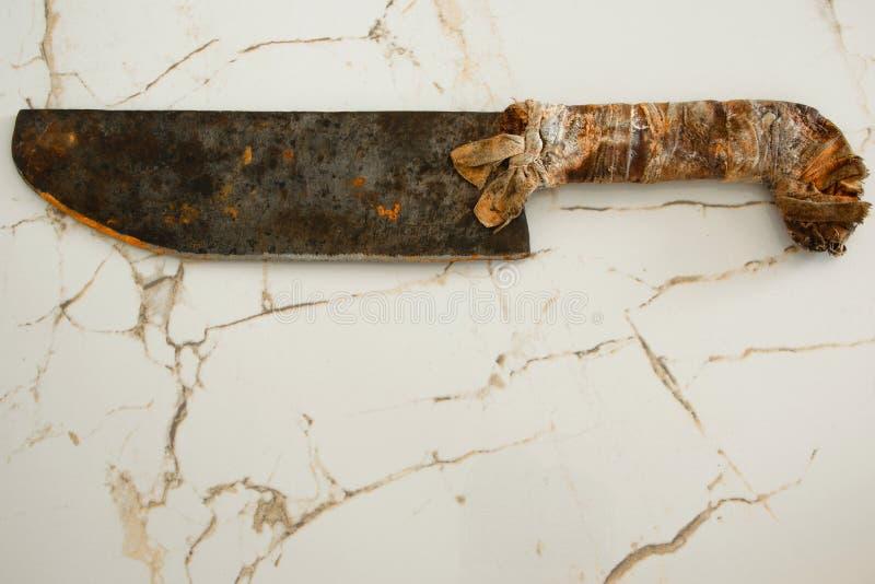Cuchilla aislada del carnicero del vintage, espacio para el texto fotografía de archivo