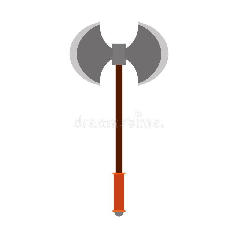 Cuchilla del arma del icono del vector del hacha de la batalla Símbolo blanco aislado antiguo del guerrero de vikingo Equipo de j ilustración del vector