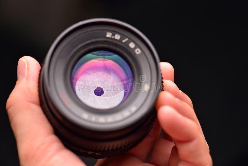 Cuchillas de la abertura de una lente de cámara del slr del vintage fotos de archivo libres de regalías