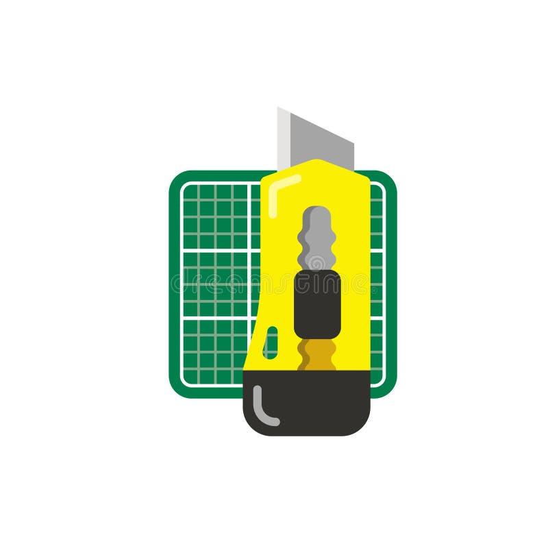 Cuchillo amarillo de los efectos de escritorio y estera verde del corte ilustración del vector