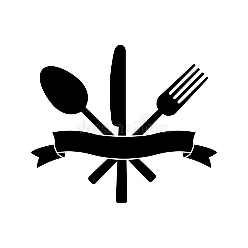 Cuchillo, bifurcación, cuchara y cinta stock de ilustración