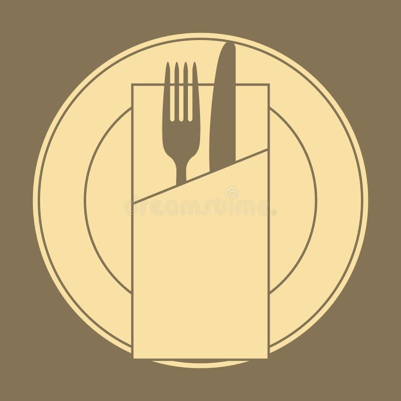 Cuchillo, bifurcación, placa y servilleta ilustración del vector