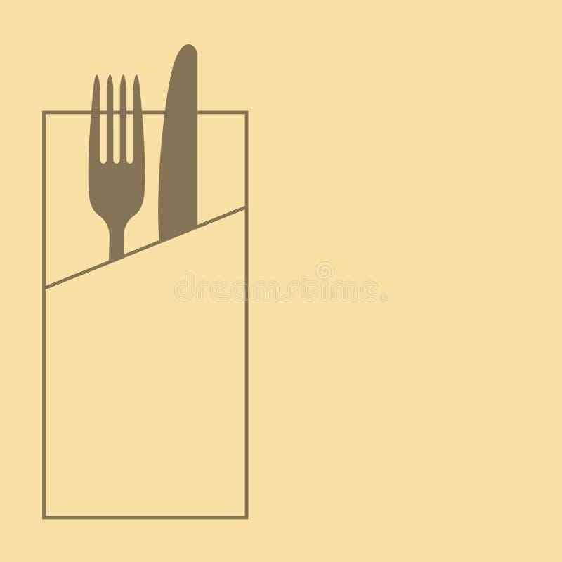 Cuchillo, bifurcación y servilleta en fondo amarillo stock de ilustración