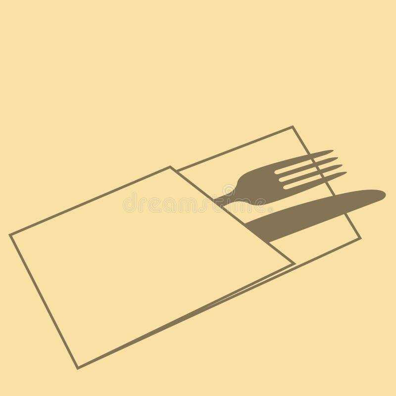 Cuchillo, bifurcación y servilleta en fondo amarillo ilustración del vector