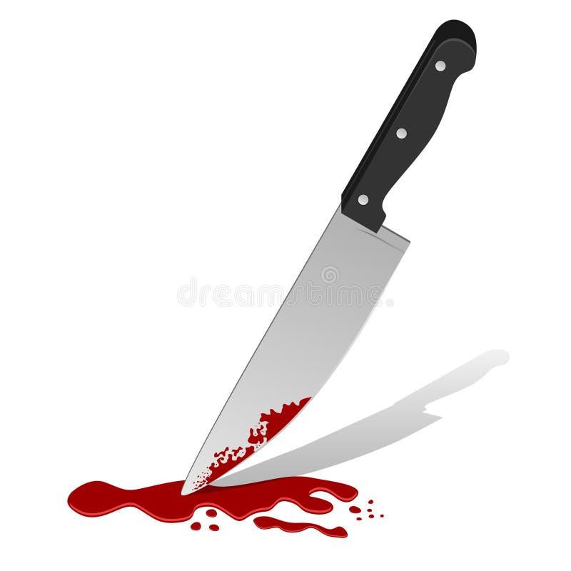 Cuchillo con sangre ilustración del vector