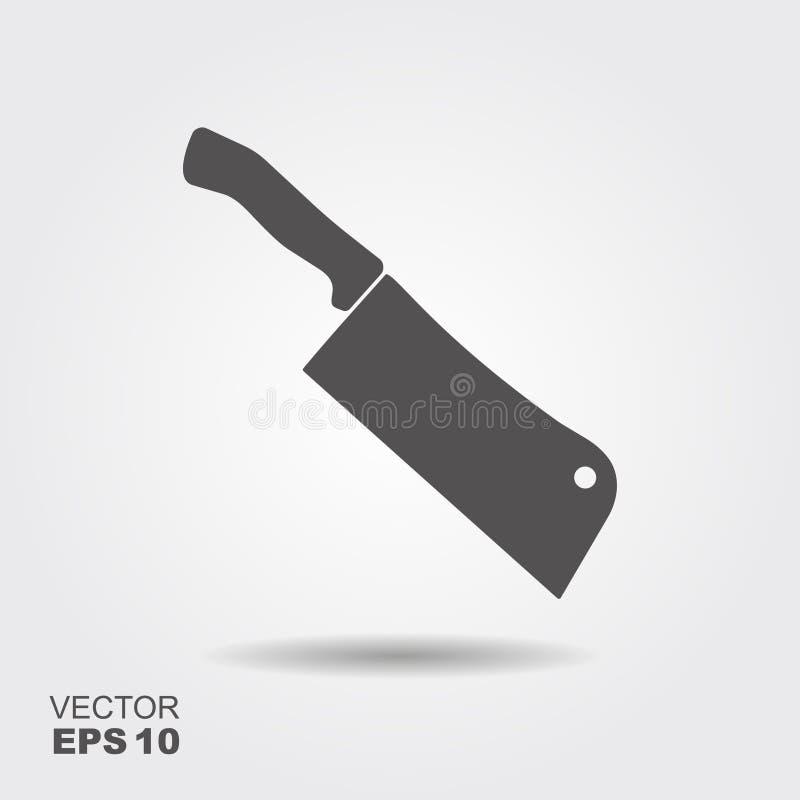 Cuchillo de carnicero El cuchillo de cocina y el cuchillo de la carne vector el ejemplo en estilo plano stock de ilustración