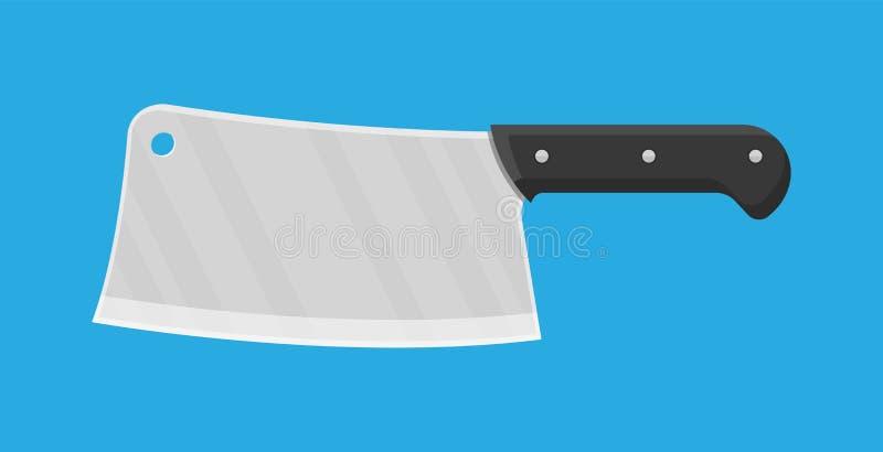 Cuchillo de carnicero Cuchillo de la cuchilla de la cocina para la carne ilustración del vector