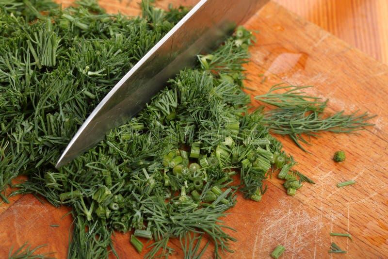 Cuchillo de cocina y hojas tajadas del eneldo en un primer de madera de la tabla de cortar fotografía de archivo libre de regalías