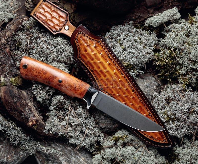 Cuchillo de combate de cazador hecho a mano con maleta en un musgo en la vista superior del bosque imagen de archivo