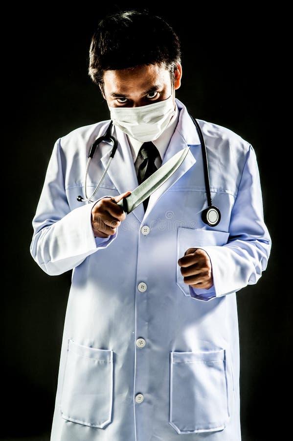 Cuchillo del control de la psicosis del doctor Serial Killer imágenes de archivo libres de regalías