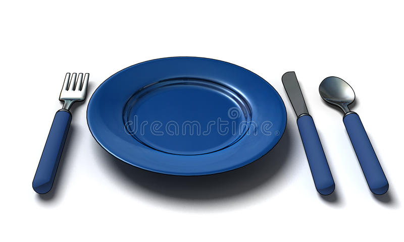 Cuchillo, fork, cuchara y placa ilustración del vector
