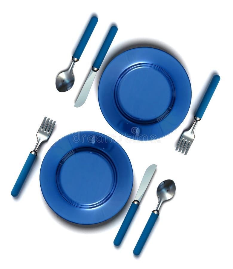 Cuchillo, fork, cuchara y placa stock de ilustración