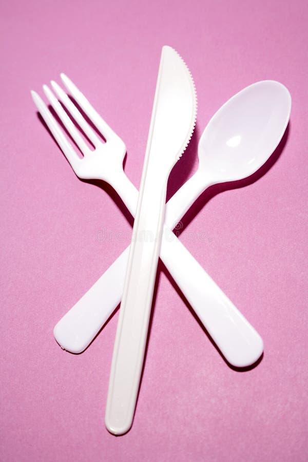 Cuchillo, fork y cuchara foto de archivo