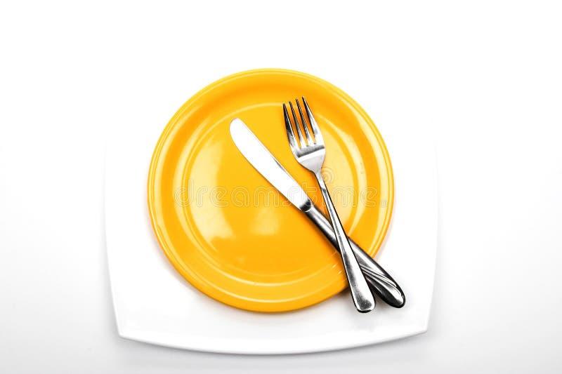 Cuchillo, fork y placas fotos de archivo