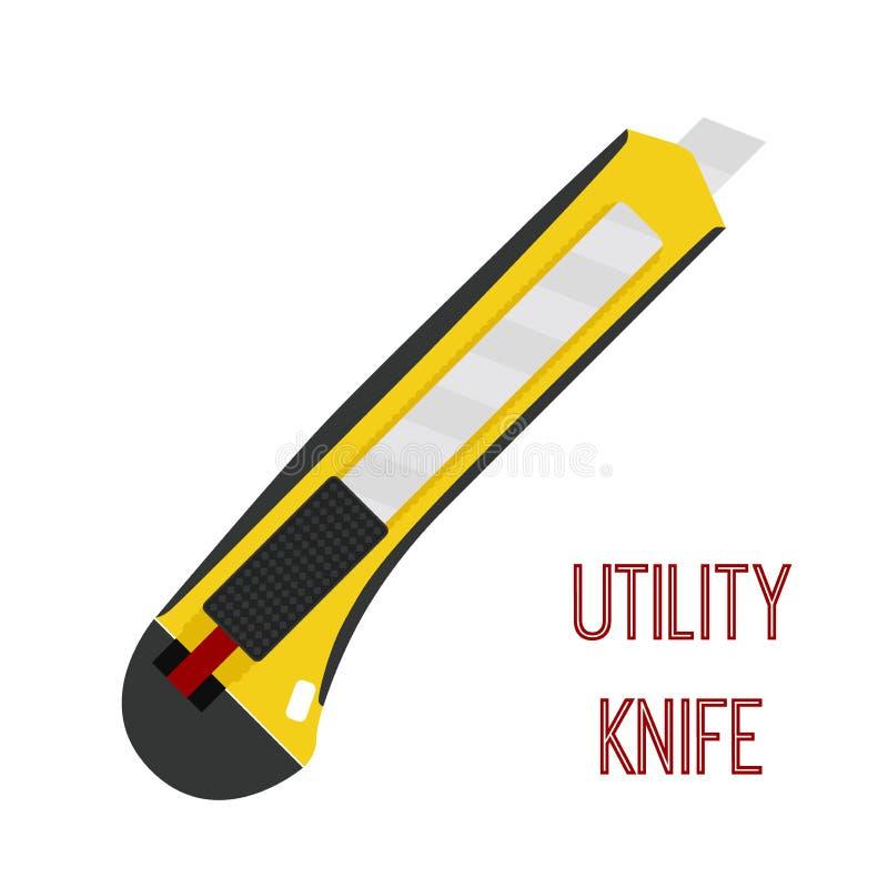Cuchillo para uso general, cortador, cuchilla inmóvil, maquinilla de afeitar Estilo plano de la historieta Vector libre illustration