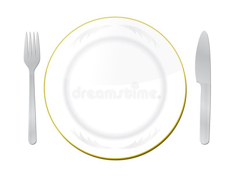 Cuchillo, placa blanca y fork stock de ilustración