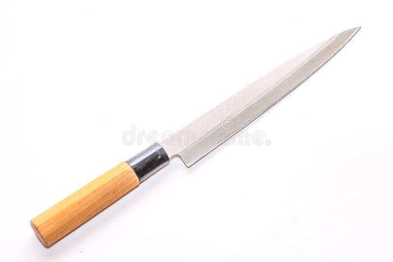 Cuchillo que corta grande para la carne con una manija de madera fotos de archivo libres de regalías