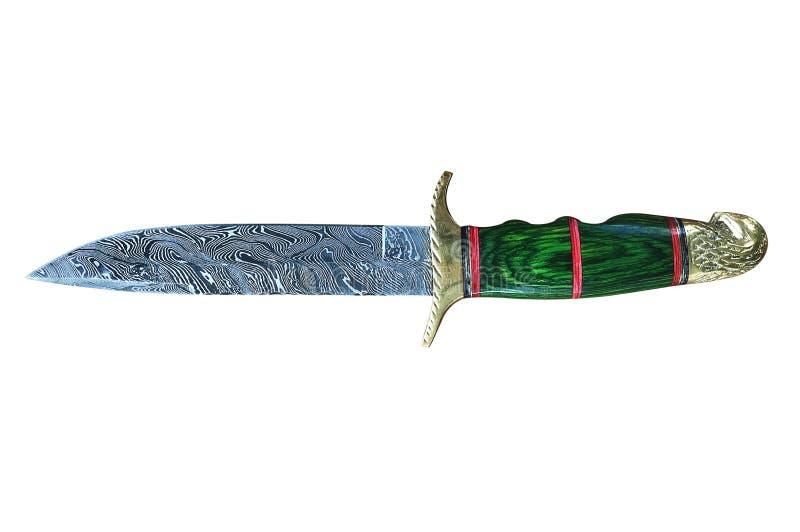 Cuchillo y envoltura de caza hecho a mano de Damasco, aislados foto de archivo libre de regalías