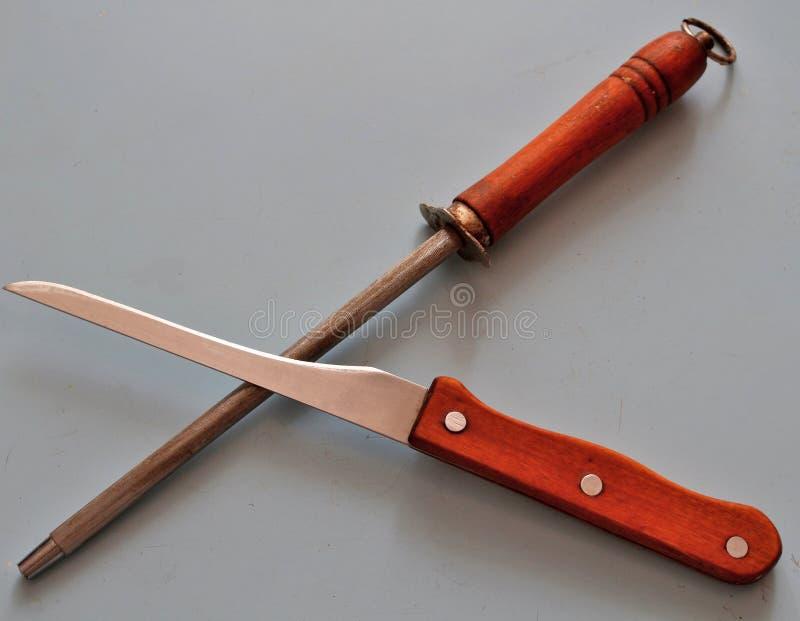 Cuchillo y sacapuntas de cuchillo fotografía de archivo libre de regalías