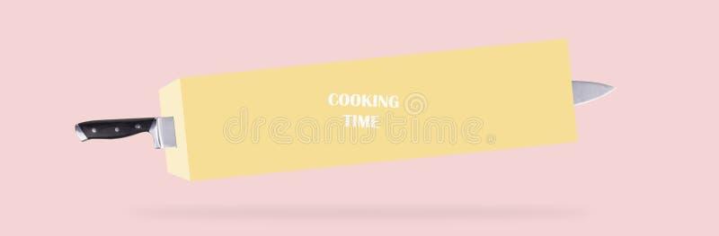 Cuchillo y tiempo de cocción imagen de archivo libre de regalías