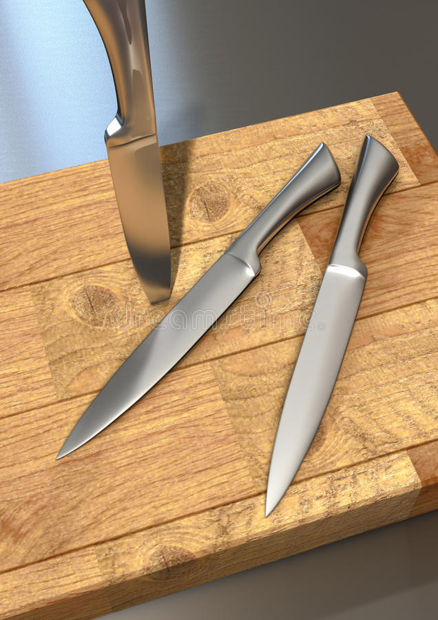 Cuchillos de cocina en una tarjeta de corte fotografía de archivo