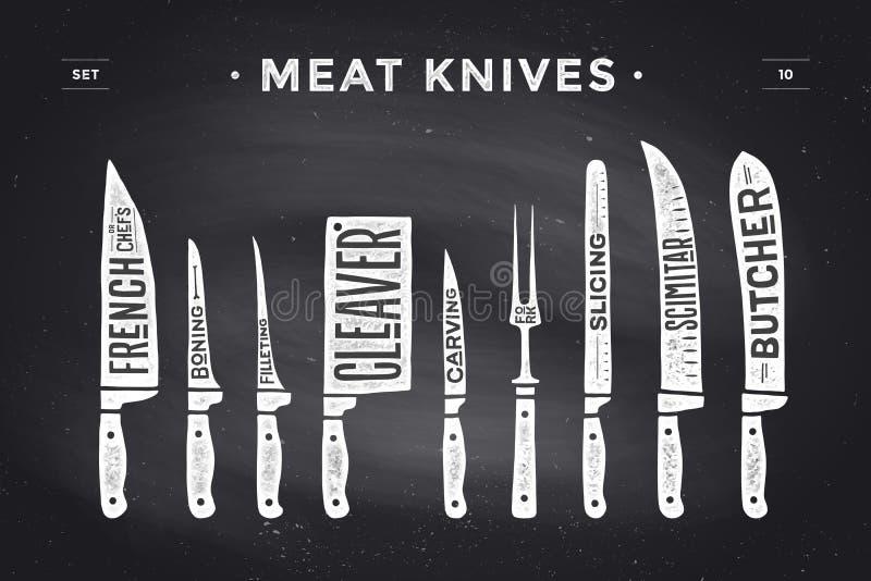 Cuchillos de corte de la carne fijados Diagrama y esquema del carnicero del cartel stock de ilustración