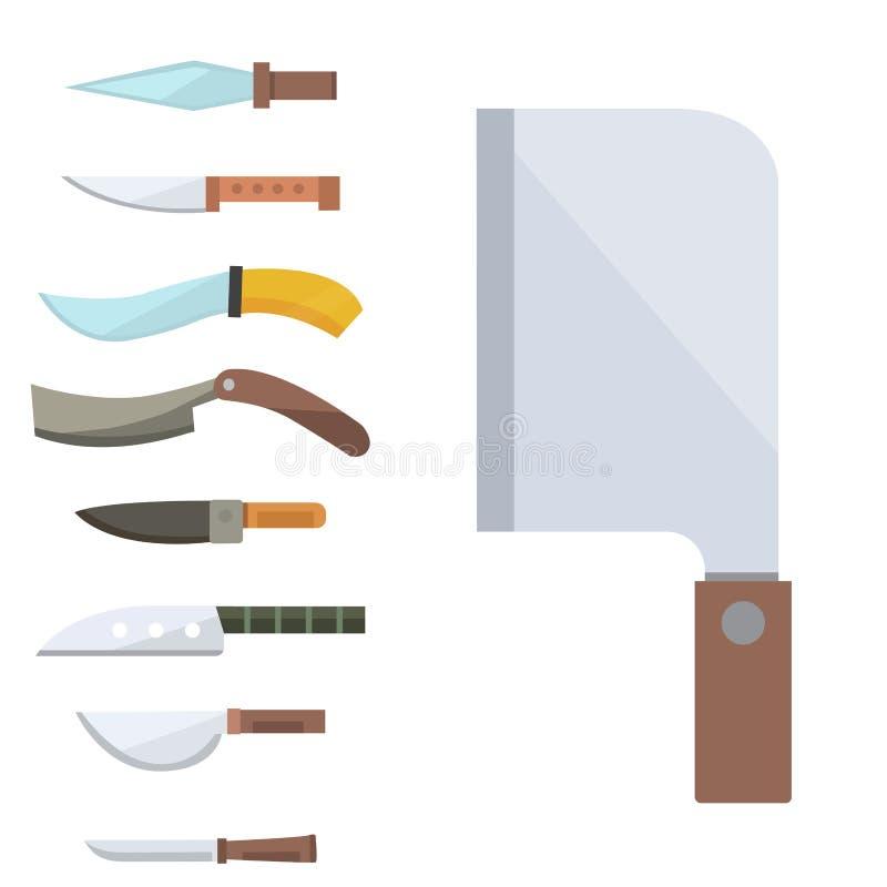 Cuchillos que cocinan el ejemplo inoxidable del vector de la herramienta de la cuchilla del restaurante de la maquinilla de afeit ilustración del vector
