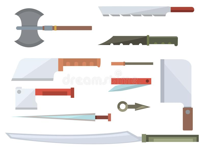 Cuchillos que cocinan el ejemplo inoxidable del vector de la herramienta de la cuchilla del restaurante de la maquinilla de afeit stock de ilustración