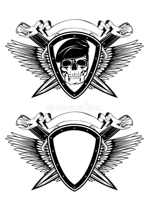Cuchillos y cráneo cruzados escudo en boina libre illustration