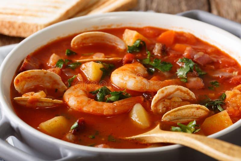 Cucina americana: Macro della minestra della zuppa di molluschi e latte di Manhattan orizzontale immagini stock libere da diritti