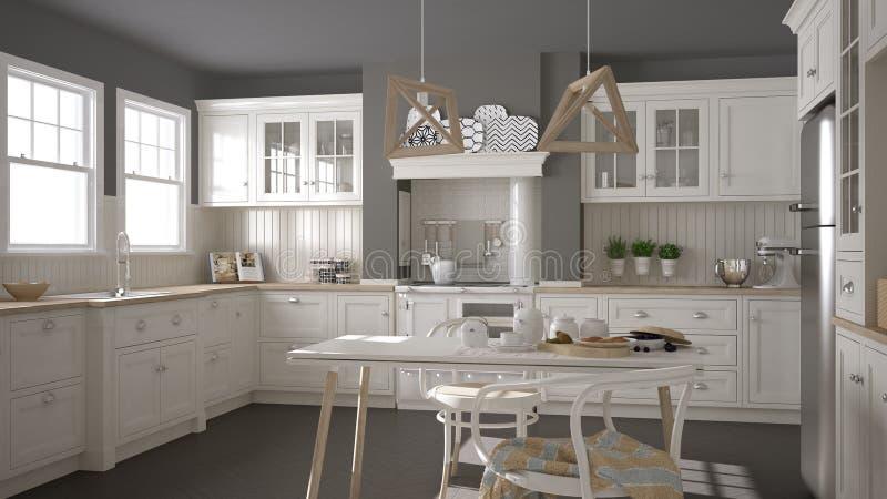 Cucina bianca classica scandinava con i dettagli di legno minimali fotografia stock immagine - Cucina classica contemporanea ...