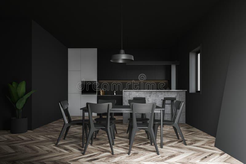 Cucina bianca e grigia con la tavola illustrazione di stock