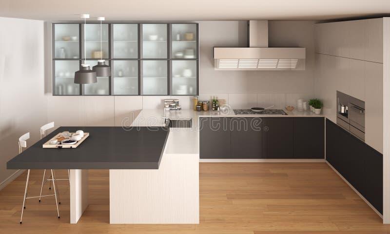Cucina bianca e grigia minima classica con il pavimento di - Parquet in bagno e cucina ...