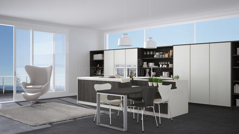 Cucina bianca e grigia moderna con i dettagli di legno grandi wi della finestra illustrazione - Cucina moderna bianca e grigia ...