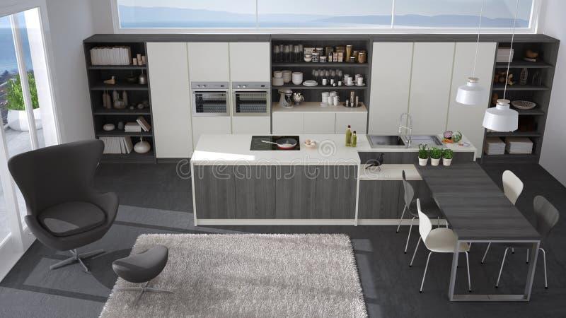 Cucina Bianca E Grigia Moderna Con I Dettagli Di Legno, Grandi Wi ...
