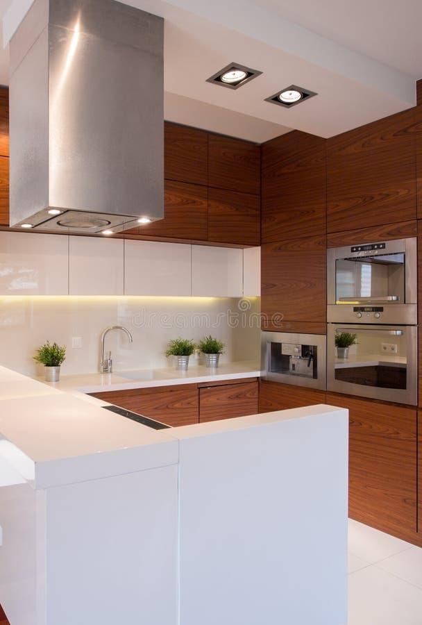 Cucina bianca e marrone fotografia stock. Immagine di mobilia ...